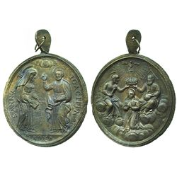 Bronze religious medallion, Sts. Anna and Joachim, ca. 1700s-1800s (Rome).