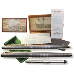 Parker 75 fountain pen made in 1965 from 1715-Fleet silver, in original presentation box, with match