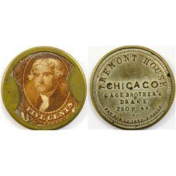 Encased Postage Tremont House, Chicago 5c IL - Chicago, -  -