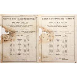 Eureka and Palisade Railroad Time Table NV - Eureka, - 1900 -