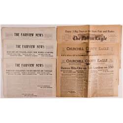 Nevada Newspapers Assortment NV - Fairview, Fallon, - 1907, 1925, 1947 -
