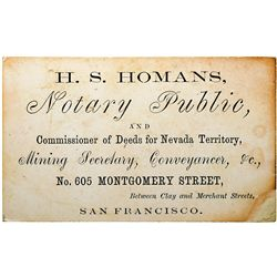 Nevada Territory Commissioner of Deeds Business Card NV - Virginia City,Storey County -  -