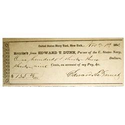 US Navy Yard Receipt NY - New York City, - 1850 - Americana/Paper/Ephemera