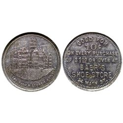 Baer's Shoe Shine gf10c UT - Salt Lake City,C1910 - Tokens