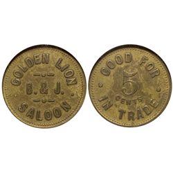 Golden Lion Saloon UT - Salt Lake City,c1900 - Tokens