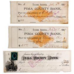 Pima County Checks AZ - Tucson,Pima County - c1880 - Americana/Paper/Ephemera