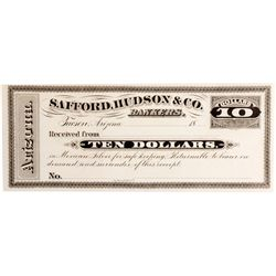 Safford, Hudson & Co. Bankers Receipt AZ - Tucson,Pima County - c1880 - Americana/Paper/Ephemera