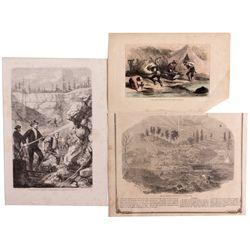 California Gold Mining Illustrations CA - , - c1850s -