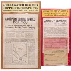 Greenwater Red Boy Copper Co. Ephmera CA - ,Inyo County - 1906 - Americana/Paper/Ephemera