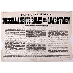Miscellaneous Rules for Quarrymen Broadside CA - , - 1919 -