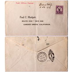 "Bodie Cover ""Post Office Burned"" Manuscript Cancelled CA - Bodie,Mono County - 1932 - Americana/Pape"