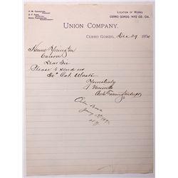 Union Mining Company Letterhead CA - Cerro Gordo,Inyo County - 1890 - 2012aug - General Americana