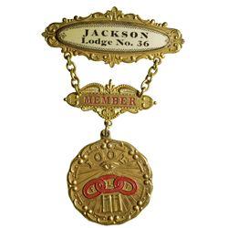 IOOF Jackson Lodge Badge CA - Jackson,Amador County -  -