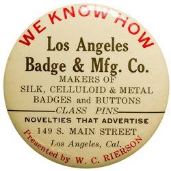 Los Angeles Badge & Mfg. Co. Advertising Mirror CA - Los Angeles, -  -