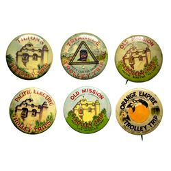 Pacific Electric Railway Trolley Trip Advertising Pins Group CA - Los Angeles, - c1900 -