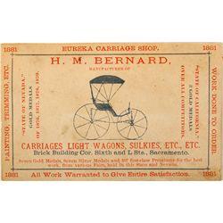 Carriage Shop Business Card CA - Sacramento,Sacramento County - 1881 - Americana/Paper/Ephemera