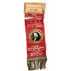I.O.O.F. Diamond Jubilee Ribbon CA - Sacramento, - 1927 -