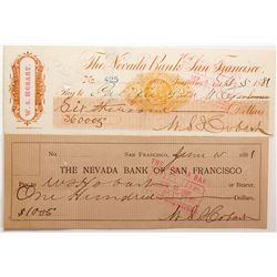 Nevada Bank of San Francisco Checks CA - San Francisco, - 1881 -