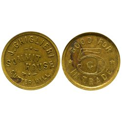 Summit House Token CA - Sutter Hill,Amador County - c1900-1920 - Tokens