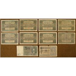 10 PRE-NAZI 1920'S GERMAN BANK NOTES