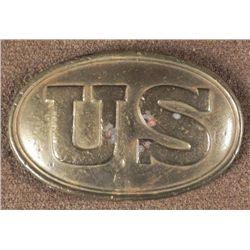 U.S. CIVIL WAR BELT BUCKLE-BRASS-LEAD FILLED BACK