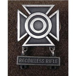 ARMY SHARPSHOOTER'S BADGE W/ RECOILLESS RIFLE BAR -EPG