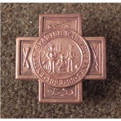 ORIG SPANISH-AMERICAN WAR VETERAN'S LAPEL BADGE -RARE