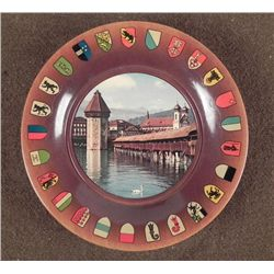 "WWII ERA NAZI GERMAN 6"" WOOD HANGING PLATE"