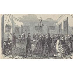 ORIGINAL Antique PRINT scene General Geary Issuing Pas