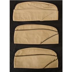 Lot 3 WWII Tan Army Side Caps