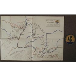 WWII 103RD DIV US ARMY MAP CACTUS ROUTE GERMANY & PATCH