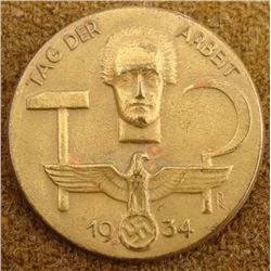 1934 TAG DER ARBEIT-MEDAL -EAGLE & SWASTIKA  W/WORKER
