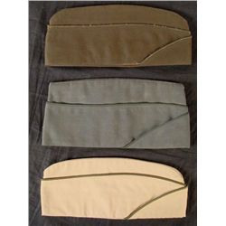 Lot 3 WWII Brown, Green, Tan Wool Army Side Caps Hats