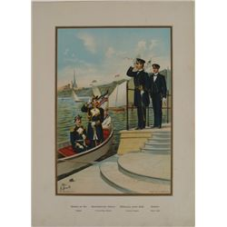 PRE-1900 GERMAN NAVAL PRINT ADMIRAL+ IN UNIFORMS AT SEA