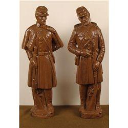 2 Civil War Soldier Ceramic Statues Union & Confederate
