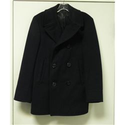 U.S. NAVY ALL WOOL PEA COAT W/ANCHOR BUTTONS-SIZE 26