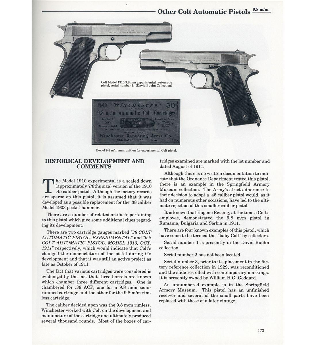 Experimental Colt Model 1910 9 8 MM Pistol Serial Number 4