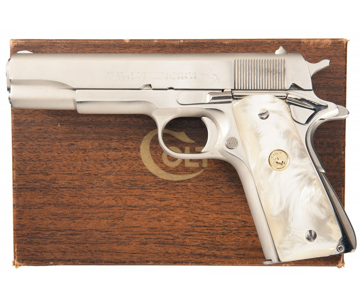 Colt 1911A1 Government Commercial Model Semi-Automatic Pistol with Box and  Extra Grips