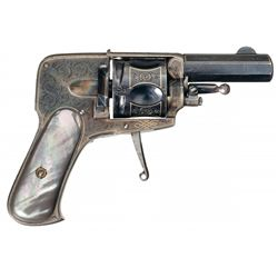 Finely Engraved Gold Inlaid European Folding Trigger Double Action Revolver with Rare Black Pearl Gr
