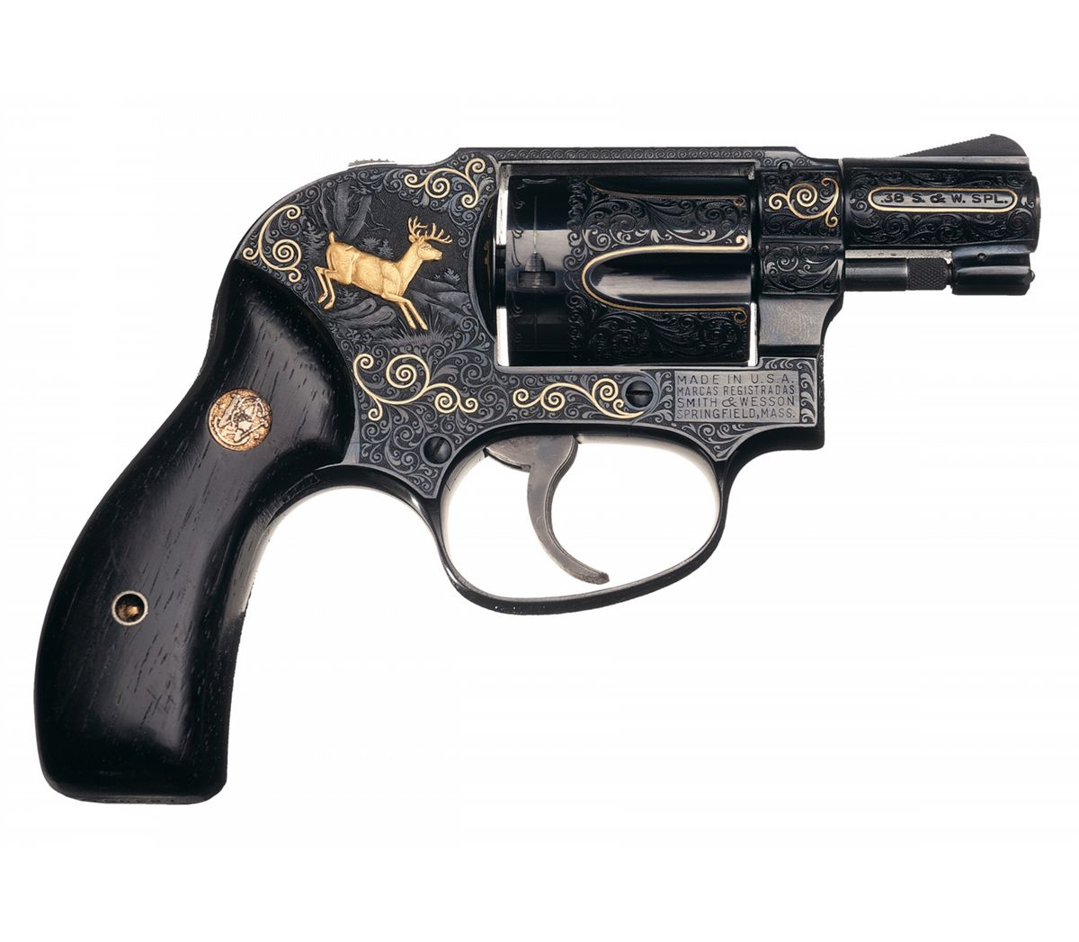 Exhibition Quality Factory Engraved Gold Inlaid Smith & Wesson Model 49  Bodyguard Double Action Revo