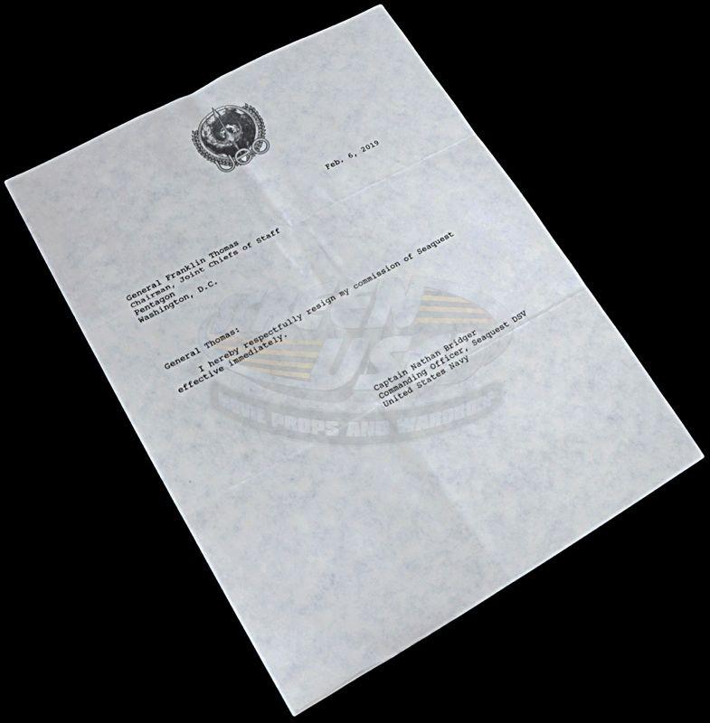 SeaQuest DSV (television)   Prop Resignation Letter & Envelope