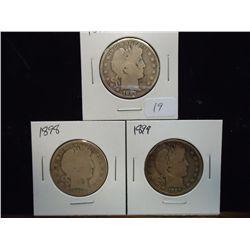 1897,98 & 99 BARBER HALF DOLLARS