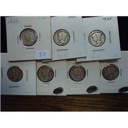 1923, 24,25,26,26-D,27 & 29-S MERCURY DIMES