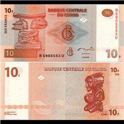 2003 Congo 10 Franc Note Crisp Unc (CUR-07076)