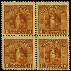 1894 Nicaragua 1c UPU Block of 4 Error (STM-0424)