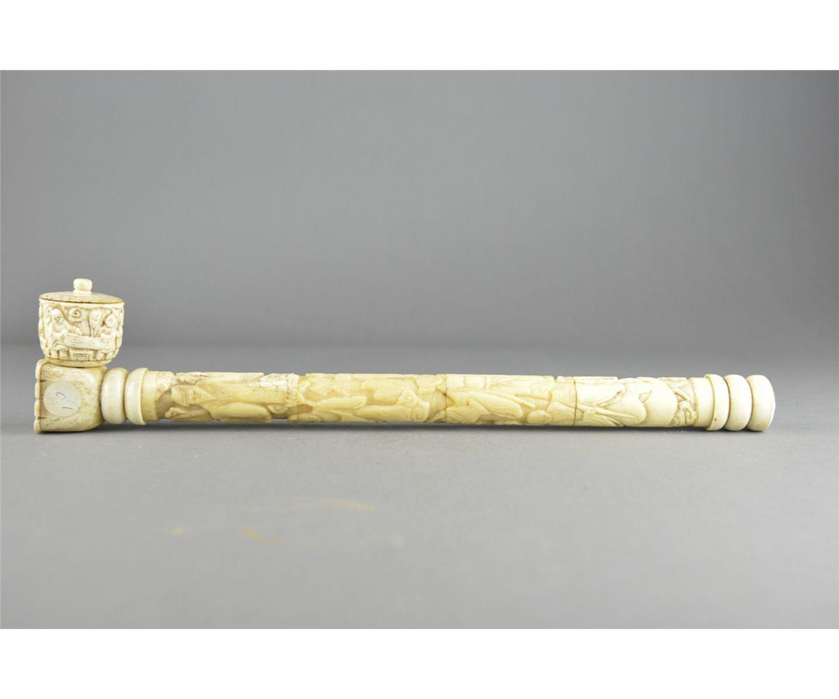 Chinese Bone Carved Smoke Pipe