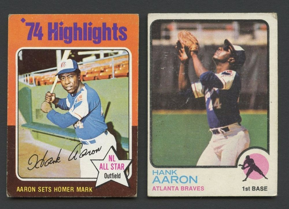Lot Of 2 Vintage Hank Aaron Baseball Cards With 1973 Topps