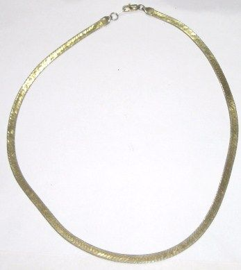 LARGE THICK GOLD HERRINGBONE NECKLACE GOLD MELT VALUE IS $605 STAMPED 14K  TOTAL WEIGHT 19 5 GRAMS !