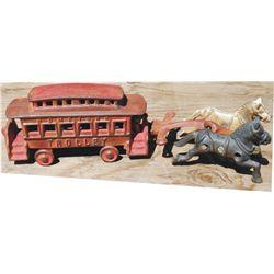 Cast iron horse drawn trolly