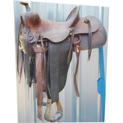 Unmarked high back saddle